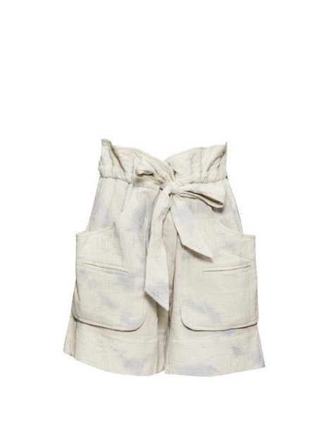 Isabel Marant Étoile - Belize Tie-dye Seersucker Wide-leg Shorts - Womens - Blue White