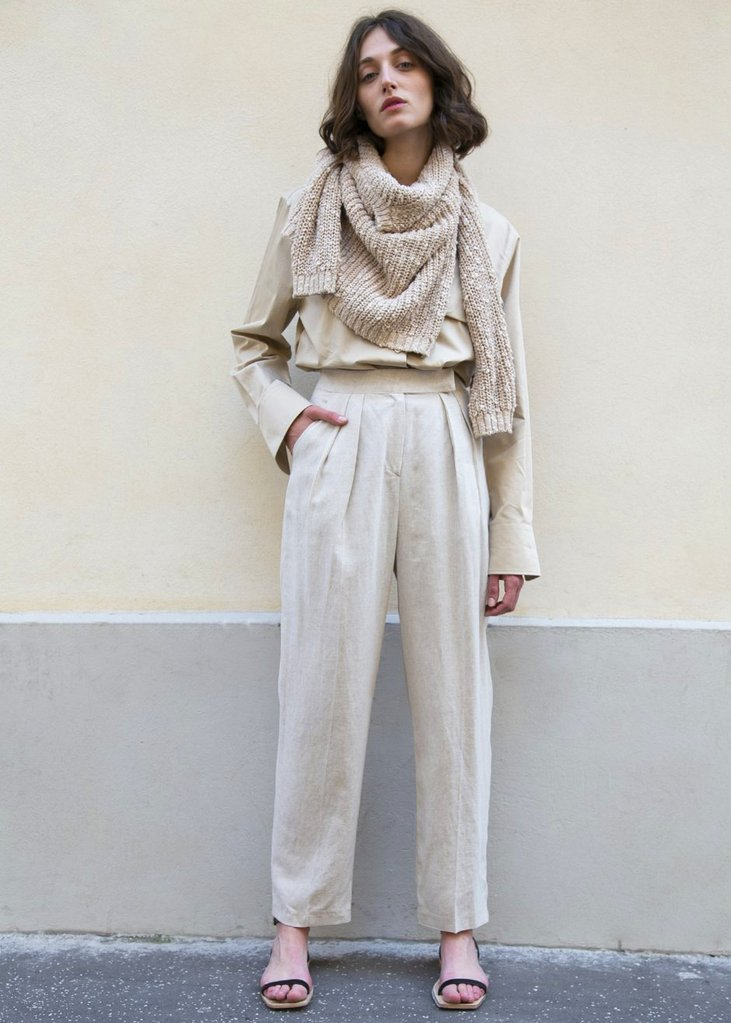 Linen Blend Woven Tab Trousers in Natural