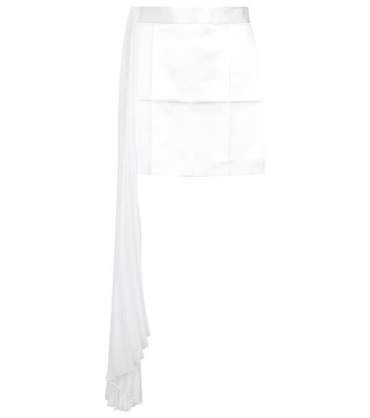 Peter Do Pleated asymmetric miniskirt in white