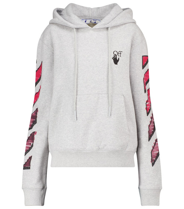 Off-White Logo cotton jersey hoodie in grey