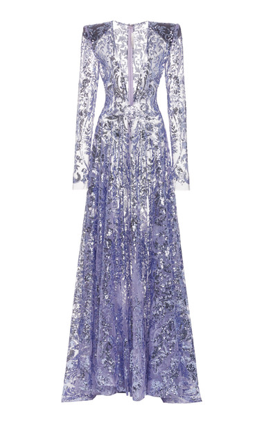 Naeem Khan Deep V-Neck Embroidered Gown in purple