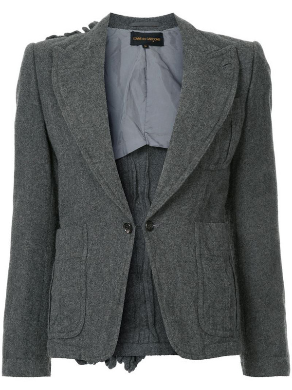 Comme Des Garçons Pre-Owned ruffle back detail blazer in grey