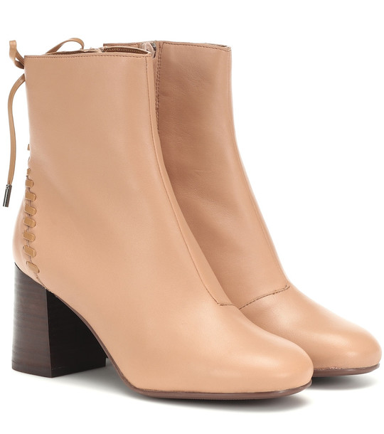 See By Chloé Reese leather ankle boots in pink