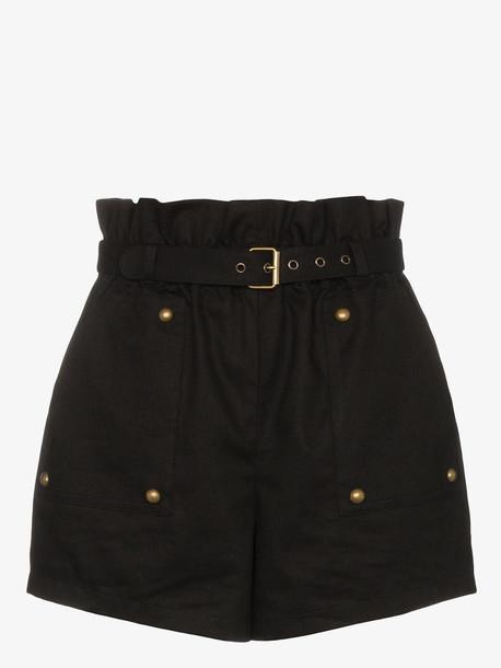 Saint Laurent stud detail high-waisted shorts in black
