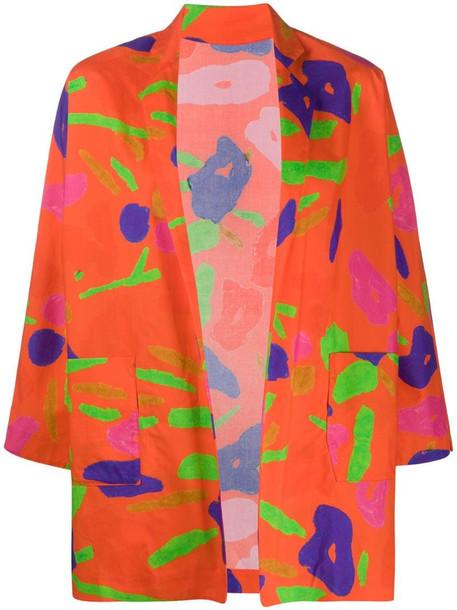 Daniela Gregis abstract-print cotton jacket in orange