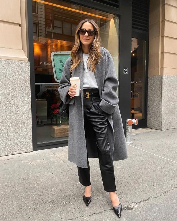 coat grey coat pumps black leather pants high waisted pants sweater black bag