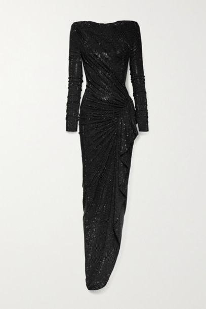 Alexandre Vauthier - Ruched Crystal-embellished Stretch-jersey Gown - Black