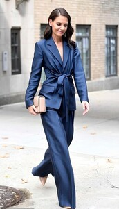 jacket,navy,katie holmes,celebrity,suit,pants,fashion week