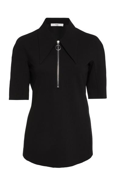 Tibi Short Sleeve Crepe Zip-Up Top in black