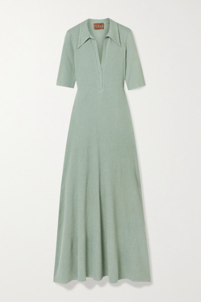 Albus Lumen - Cotton-blend Jersey Maxi Dress - Green