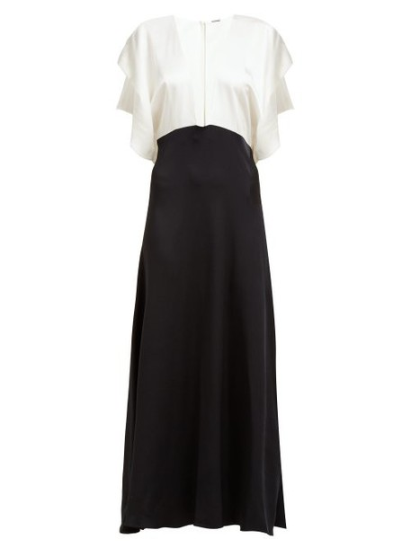 Dodo Bar Or - Byon V Neck Satin Maxi Dress - Womens - Black White