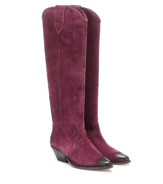 Isabel Marant Denvee suede knee-high boots in purple