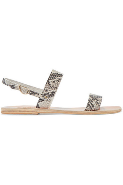 Ancient Greek Sandals - Clio Snake-effect Leather Sandals - Snake print