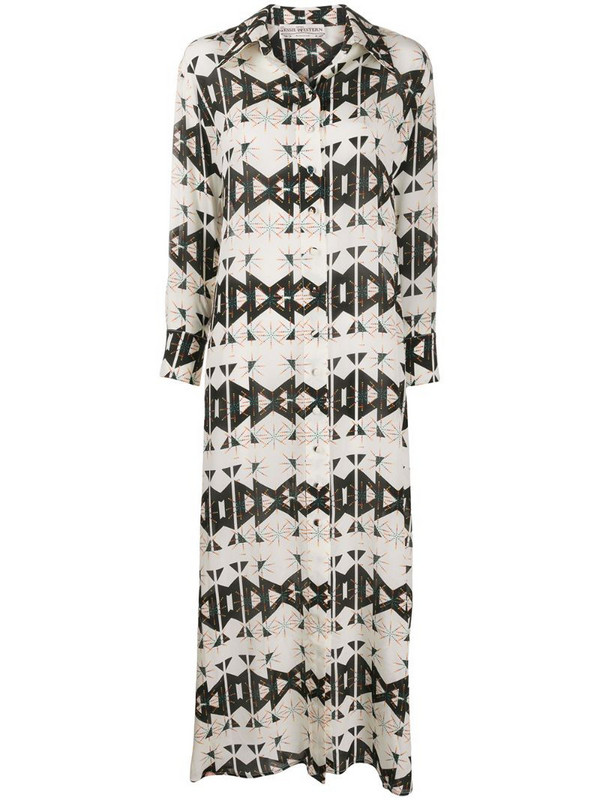 Jessie Western geometric print shirt dress in neutrals