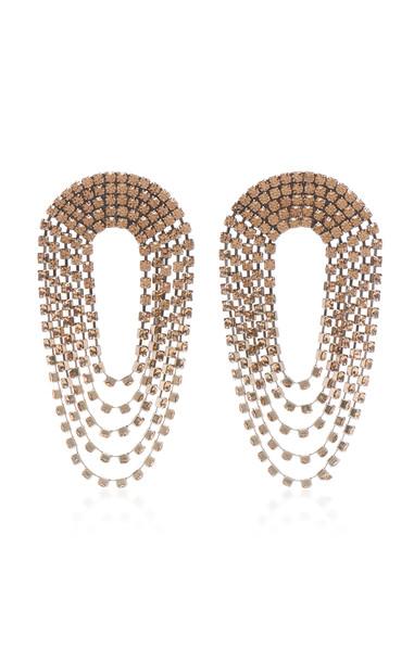 Alessandra Rich Draped Circle Dark Gold Crystal Earrings