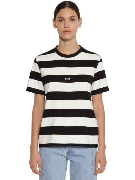 MSGM Striped Cotton Jersey T-shirt in black / white