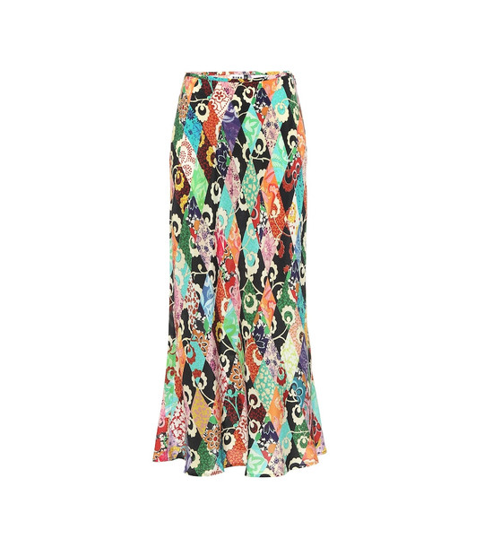Rixo Kelly printed silk midi skirt