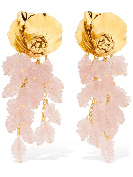PERACAS Isadora Statement Earrings in gold / pink
