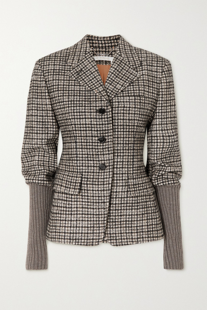 CHLOÉ CHLOÉ - Checked Wool-blend Tweed And Ribbed-knit Jacket - Gray
