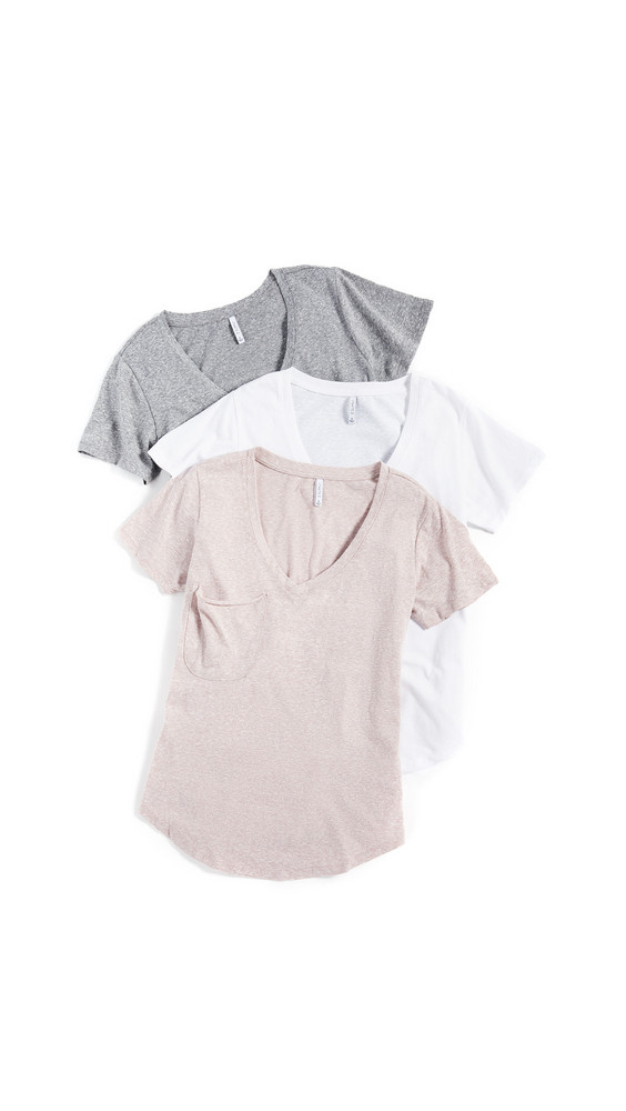 Z Supply Triblend Pocket Tee 3 Pack in grey / white
