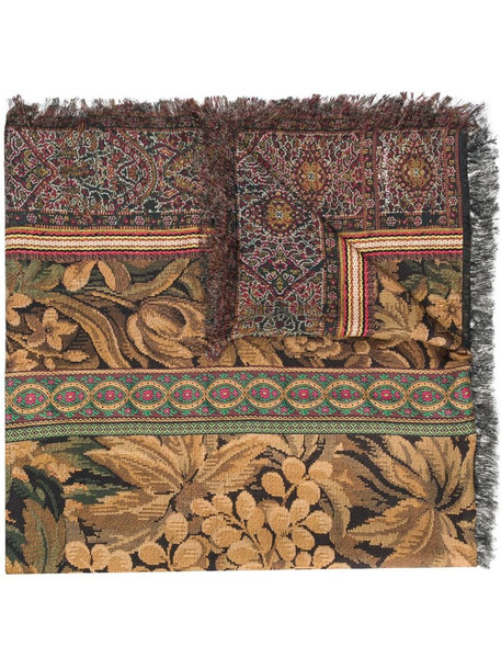 Pierre-Louis Mascia mix-print fringed scarf in brown