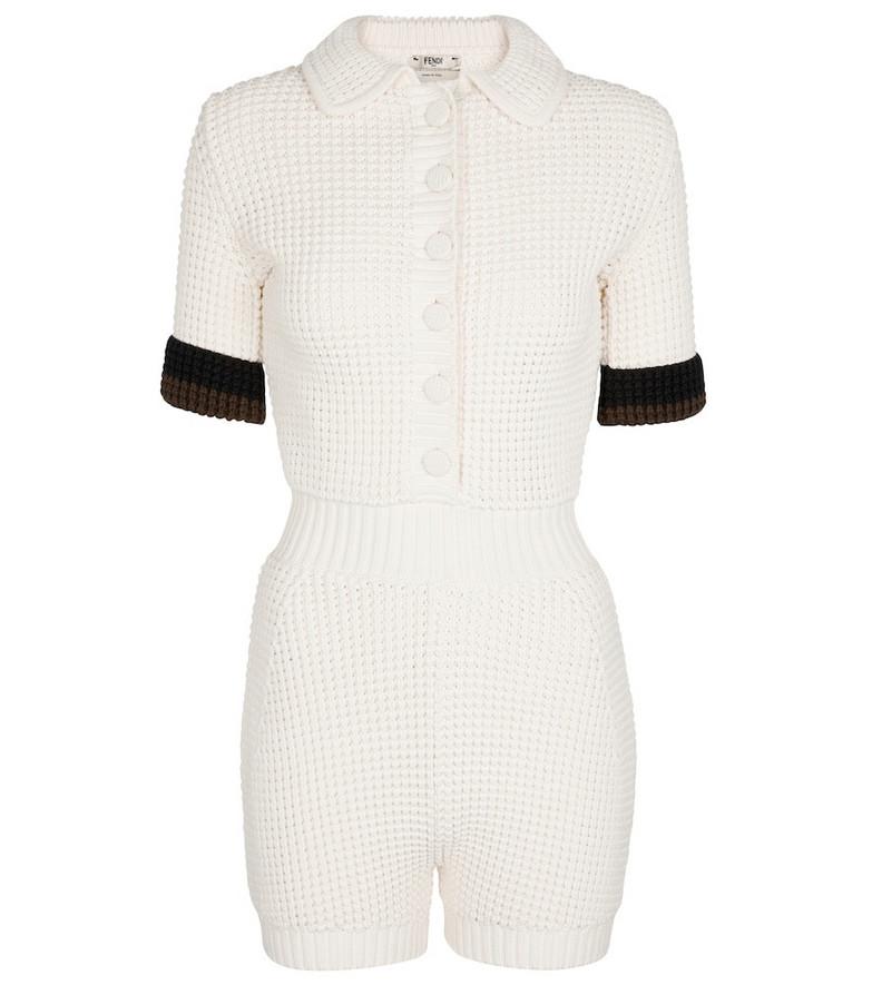 Fendi Cotton-blend knit playsuit in white