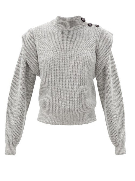 Isabel Marant - Peggy Exaggerated-shoulder Cashmere-blend Sweater - Womens - Grey