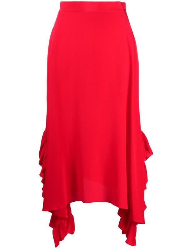 Stella McCartney silk draped ruffle skirt in red