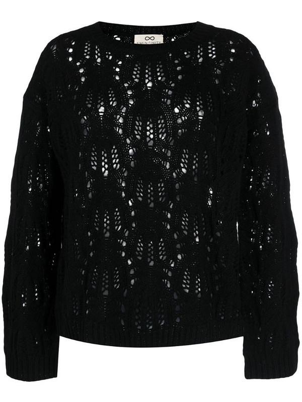 Sminfinity open-knit cashmere jumper in black