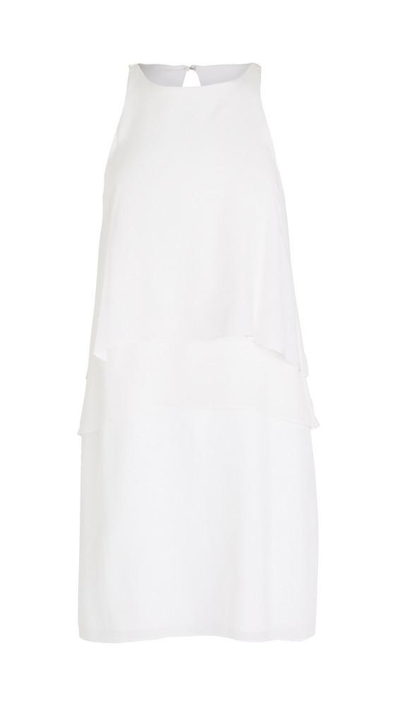 Tibi Solid Silk Layered Dress in ivory