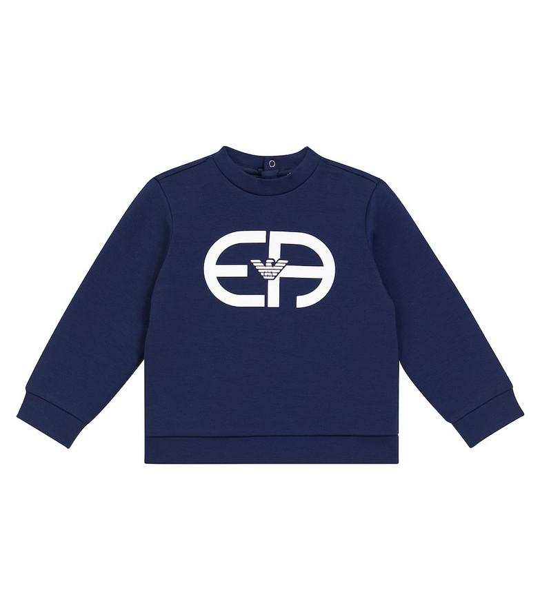 Emporio Armani Kids Baby stretch cotton-blend sweatshirt in blue
