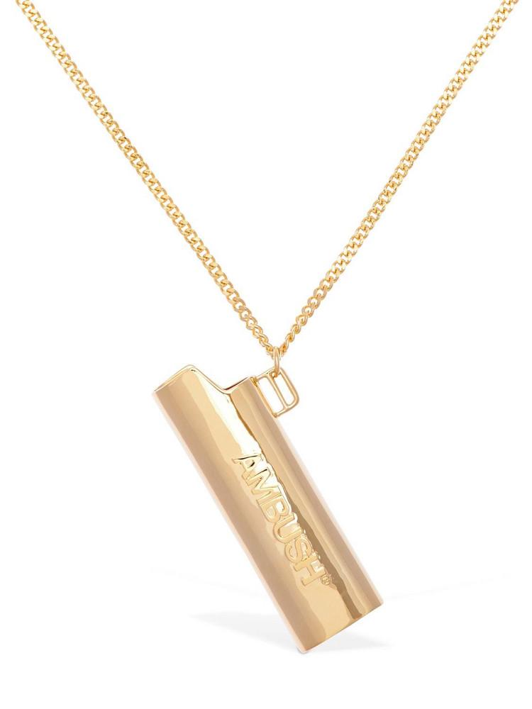 Ambush Embossed Lighter Case Necklace in gold