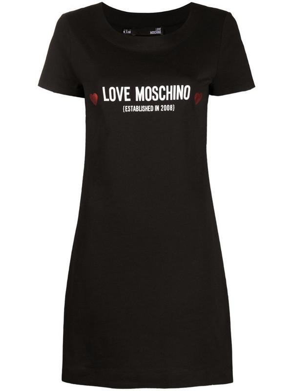 Love Moschino logo-print T-shirt dress in black