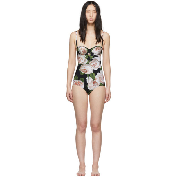 Dolce and Gabbana Dolce & Gabbana Black Rose One-Piece Swimsuit