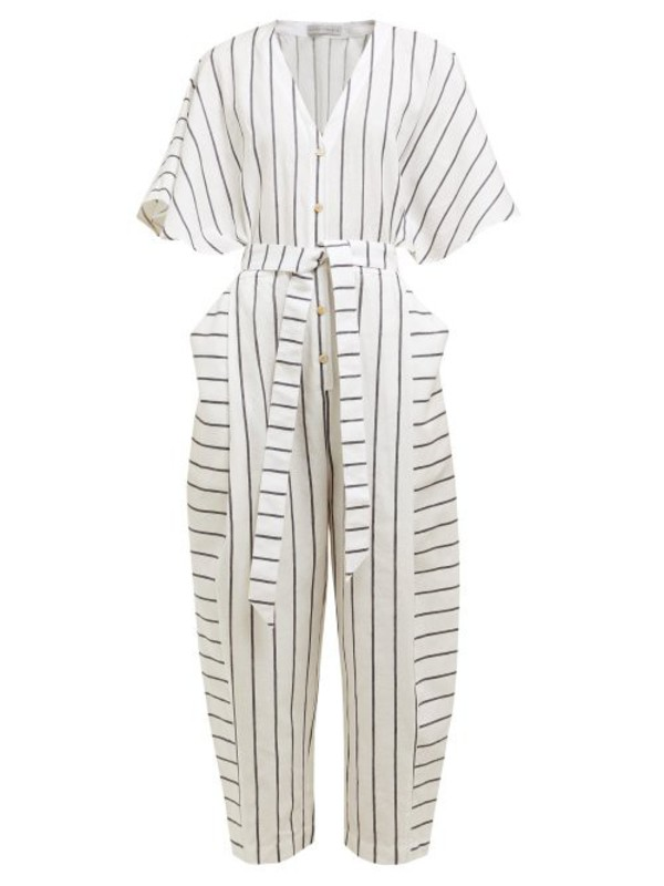 Palmer/harding Palmer//harding - Dana Striped Cotton Blend Jumpsuit - Womens - Navy Stripe