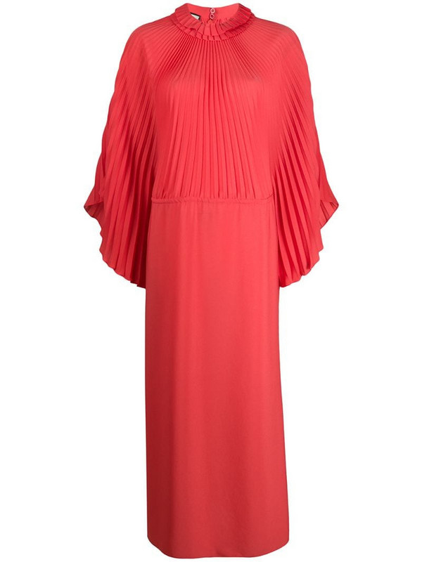 Gucci pleated long dress in red