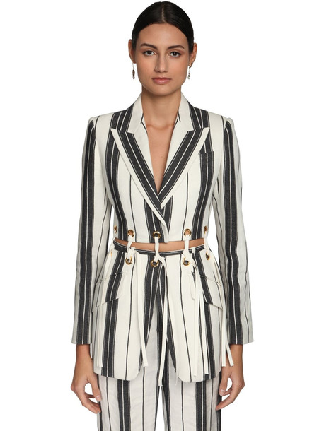 ALEXANDER MCQUEEN Striped Cotton & Linen Jacket W/ Eyelets in black / white