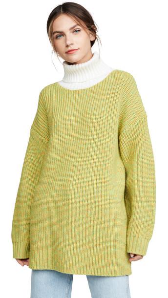 Tibi Oversized Turtleneck Pullover in green / ivory / multi