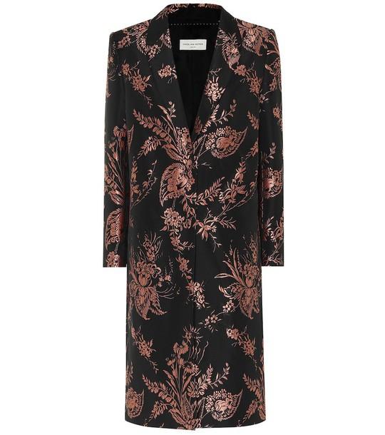 Dries Van Noten Floral brocade coat in black