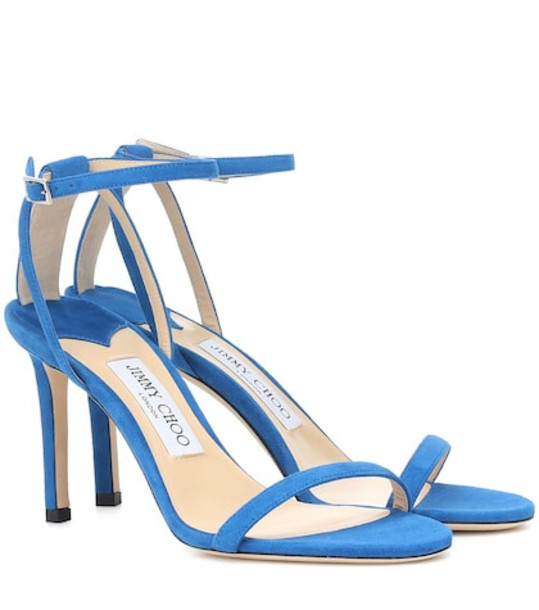 Jimmy Choo Minny 85 suede sandals in blue
