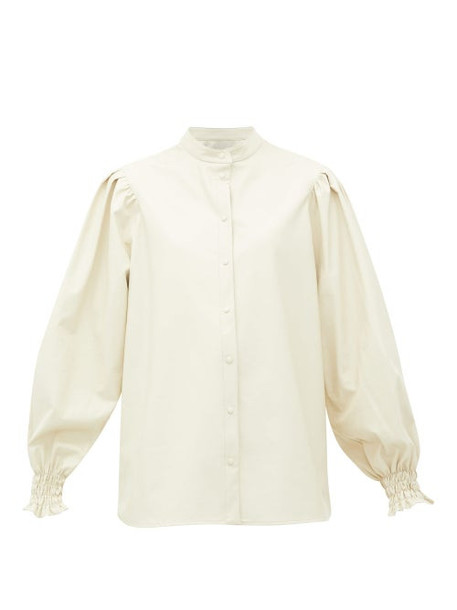 Msgm - Collarless Balloon-sleeve Faux-leather Shirt - Womens - White