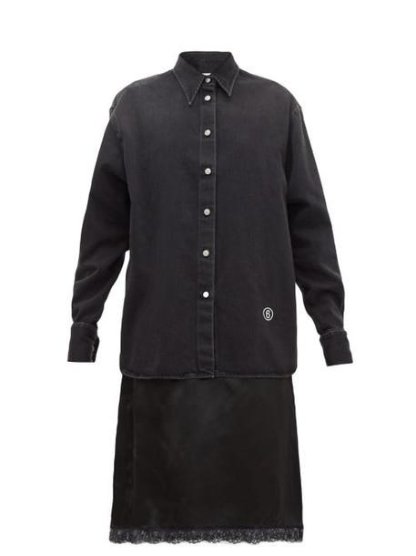 Mm6 Maison Margiela - Denim And Satin Slip Midi Dress - Womens - Black