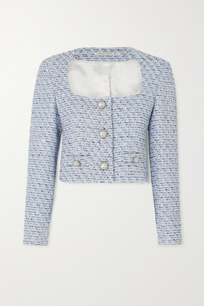 Alessandra Rich - Cropped Crystal-embellished Sequined Tweed Jacket - Blue