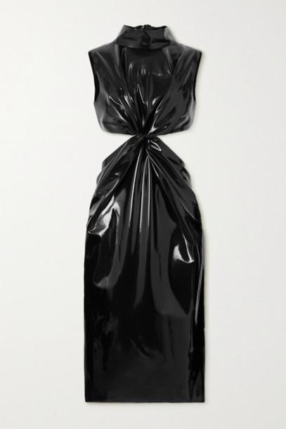 SAINT LAURENT - Knotted Cutout Latex Dress Latex Care Cleaning Kit 3 X 30ml Bottles (vividress in black