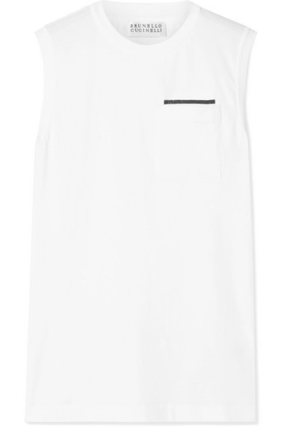 Brunello Cucinelli - Bead-embellished Cotton-blend Jersey Tank - White