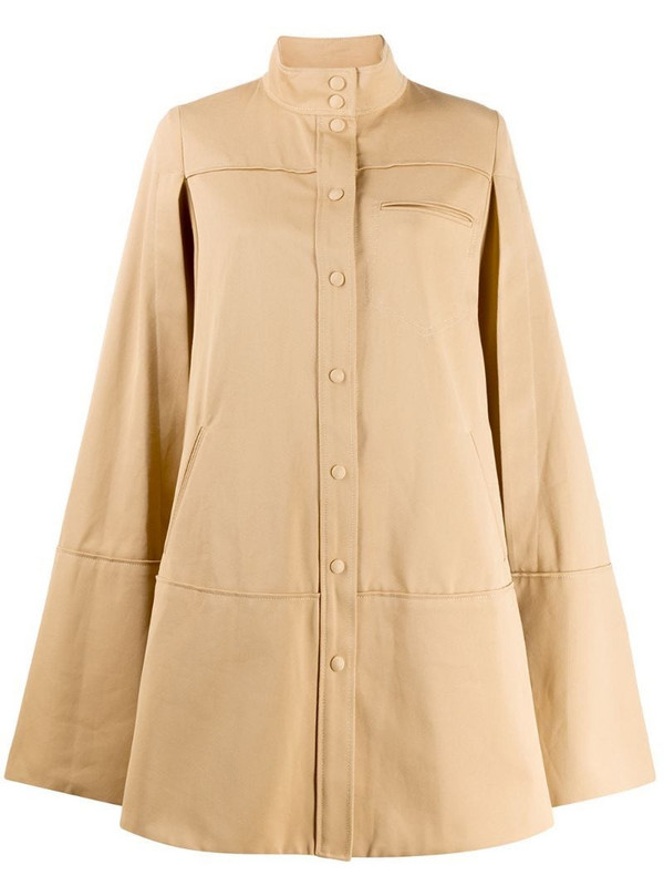 Courrèges cut-out sleeve flared coat in neutrals