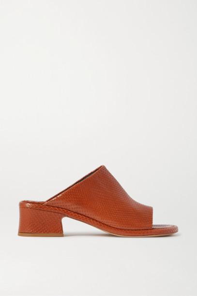 Dries Van Noten - Lizard-effect Leather Mules - Tan