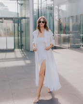 dress,white dress,slit dress,maxi dress,trench coat,long coat,sandals