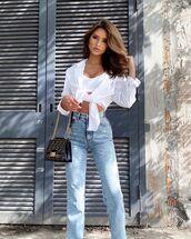jeans,straight jeans,high waisted jeans,white shirt,fendi,bag,sports bra
