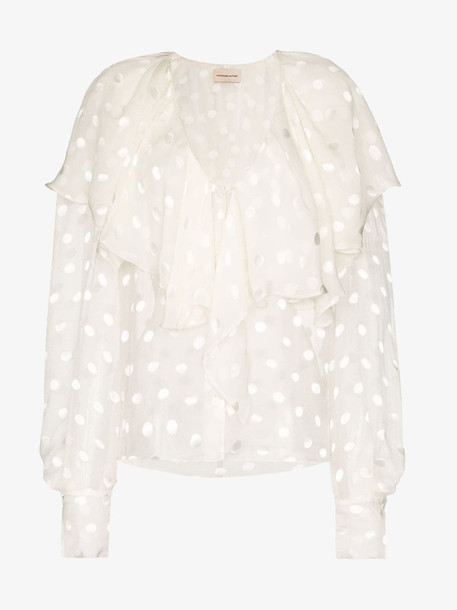Alexandre Vauthier ruffle-panel spotted blouse in white